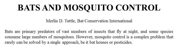 Bats and Mosquito Control
